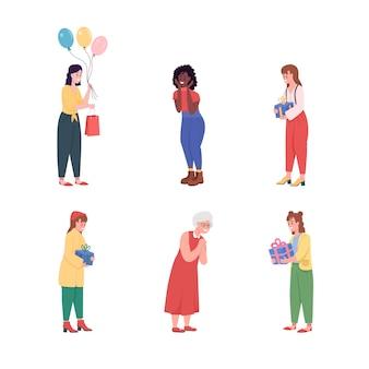 С днем рождения женский плоский цвет подробный набор символов. африканская девушка. пожилой человек.
