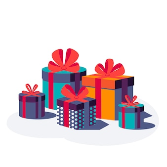 Happy birthday festive background. colorful gift boxes with ribbon and bow isolated on white background. illustration. Premium Vector