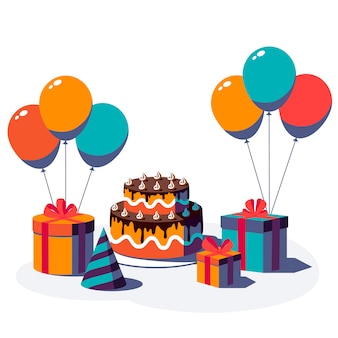 Happy birthday festive background. gift box with ribbon and bow, party hat, balloon and cake isolated on white background. illustration.