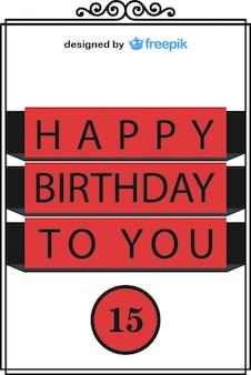 С днем рождения пятнадцать открытку винтажном стиле