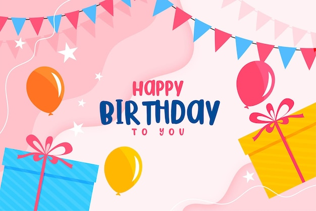 Happy birthday flat card with balloons and gift boxes