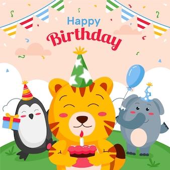Happy birthday flat design illustration