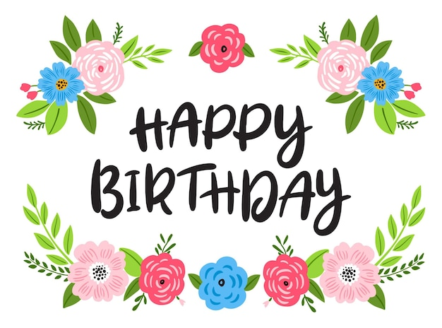 Happy birthday flat design illustration Free Vector
