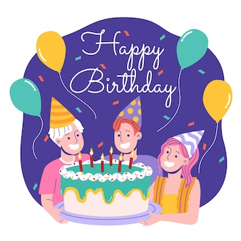 お誕生日おめでとうフラットイラストデザイン