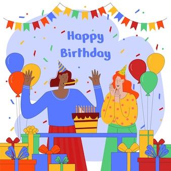 Happy birthday flat illustration design