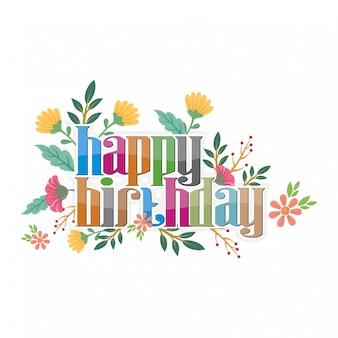 인사말 카드 및 축하를위한 생일 축하 꽃 무늬 디자인