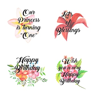 Happy birthday floral logo collection