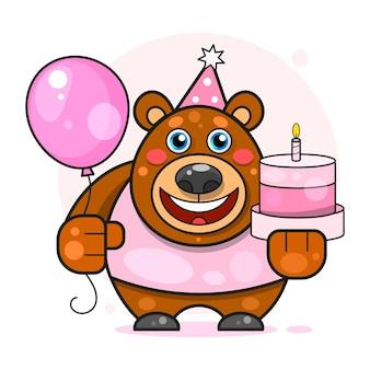 С днем рождения для концепции дизайна. медведь тедди. ретро-приглашение на вечеринку. украшение на день рождения. шаблон векторной иллюстрации. плакат, баннер, приглашение.