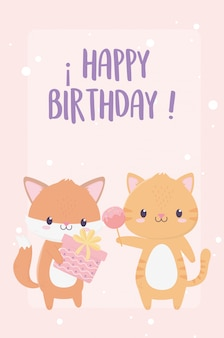 Happy birthday fox tiger with gift and celebration decoration card