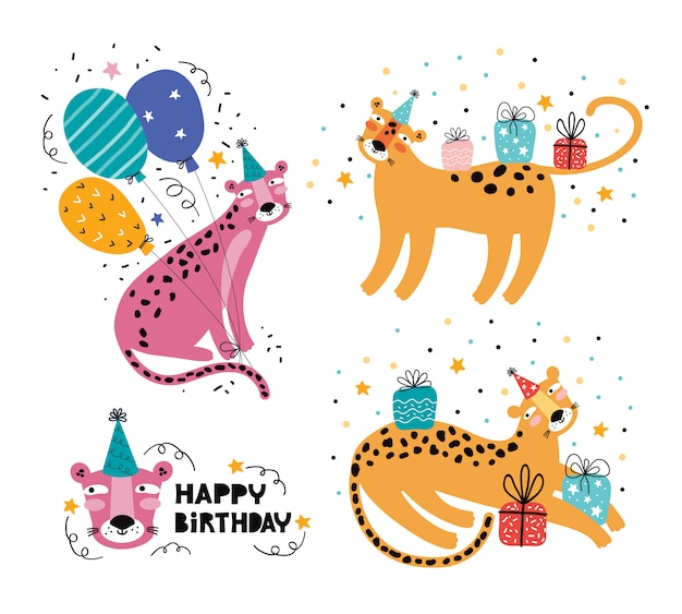 Happy birthday funny leopard or jaguar. jungle animal party. wild animal character on holiday. festive decoration, gifts, cap, balloon. hand drawn  illustration with greeting typography. doodle