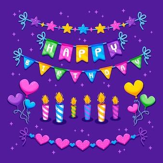 Ghirlande e candele di buon compleanno
