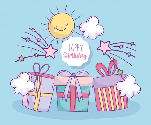 С днем рождения подарочные коробки сюрприз мультяшный праздник