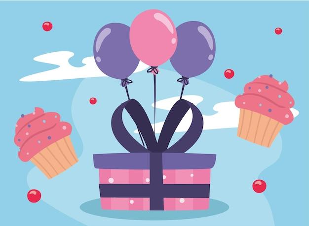 お誕生日おめでとうギフトマフィンと風船