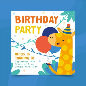 Happy birthday giraffe square flyer print template