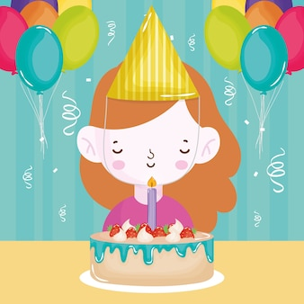 Happy birthday girl with cake candle balloons confetti