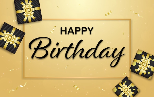 Happy birthday gold background with golden color ribbon