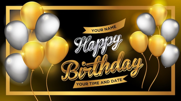 Happy birthday gold banner simple design concept for have a nice day