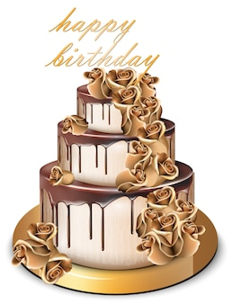 Happy birthday golden cake with roses