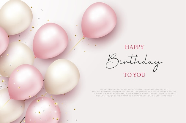 Happy birthday greeting and 3d balloons