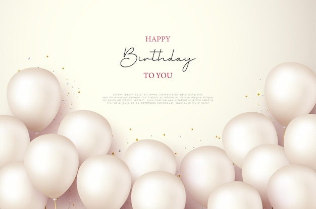 Happy birthday greeting background with stacked balloons