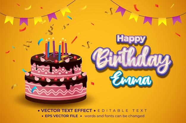 편집 가능한 텍스트 효과가 있는 생일 축하 카드 및 배경