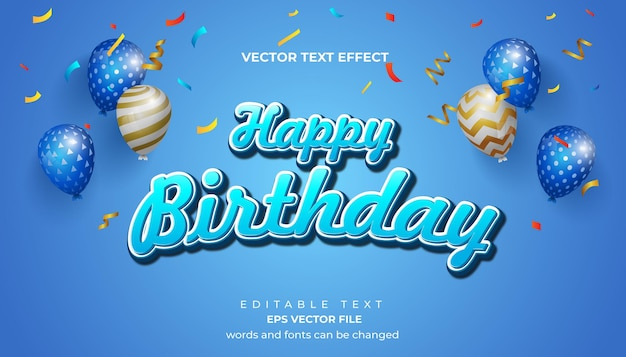 Happy birthday greeting card and background with editable text effect