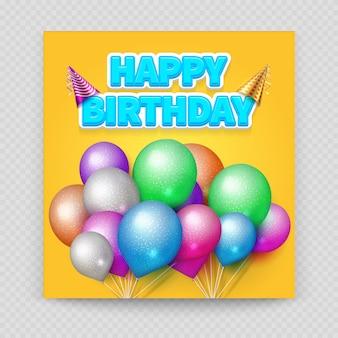 Happy birthday greeting card blank paper balloons
