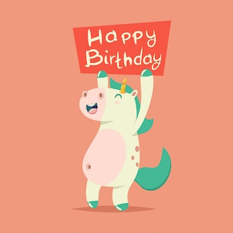 Happy birthday greeting card.   cartoon illustration of a cute magic unicorn with a tablet.