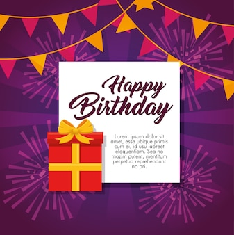 Happy birthday greeting card colorful fireworks