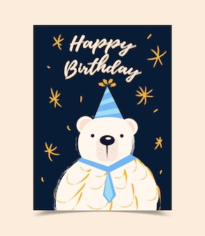 Happy birthday greeting card decorated with bear