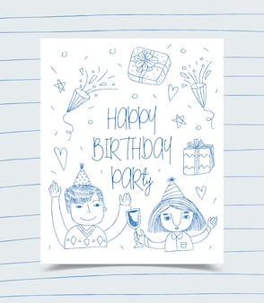 Happy birthday greeting card decorated with girl, boy and gift box