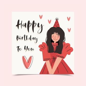 Biglietto di auguri di buon compleanno decorato con ragazza in abito rosso