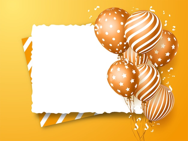 Happy birthday greeting card design for invitations and celebration with balloons