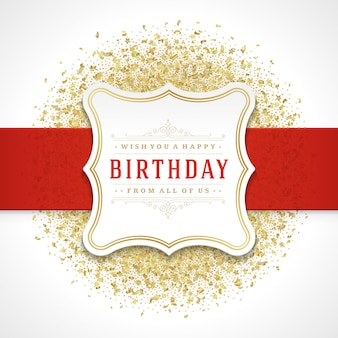 Happy birthday greeting card design vector template.