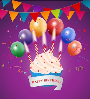 Happy birthday greeting card design with colorful balloon