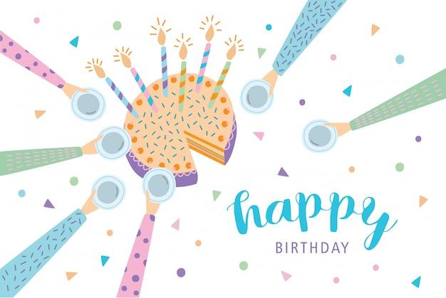 Happy birthday greeting card. festive cake with candles. illustration, cartoon postcard.