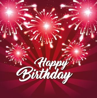 Happy birthday greeting card fireworks