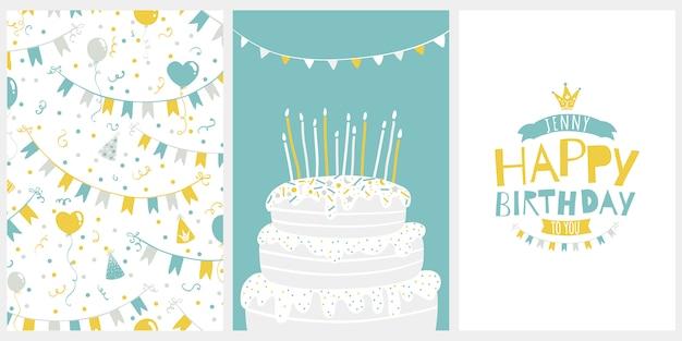 リトルプリンセスの誕生日グリーティングカード。北欧スタイルの漫画のイラスト。スタイリッシュな限定パレット