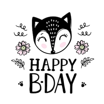 Happy birthday greeting card fox and flowers. cartoon hand drawn sketch with handwriting text clip art