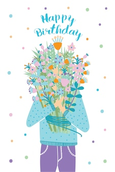 Happy birthday greeting card. guest with flower bouquet. illustration, cartoon postcard.