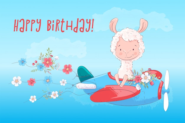 Happy birthday greeting card illustration of llama on a plane with flowers