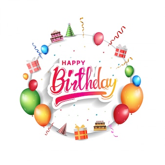 Happy birthday greeting card for invitation
