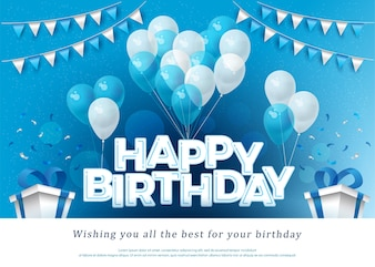 Happy Birthday greeting card lettering template