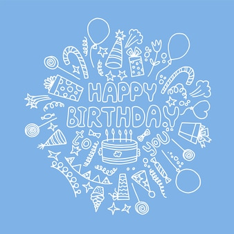 Happy birthday greeting card. lineart