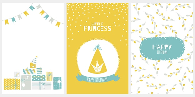 Happy birthday greeting card for little princess. illustration in cartoon scandinavian style. stylish limited palette