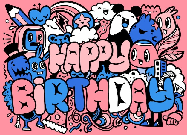 Happy birthday greeting card and monster characters  . crazy cute little monsters characters