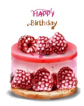 Happy birthday greeting card. raspberry birthday cake watercolor.