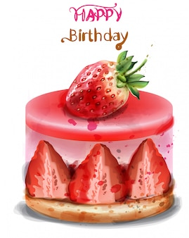 Happy birthday greeting card. strawberry birthday cake watercolor