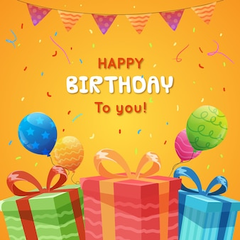 Happy birthday greeting card template in flat style for kid