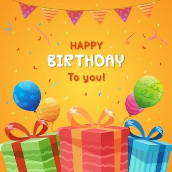 子供のためのフラットスタイルのお誕生日おめでとうグリーティングカードテンプレート